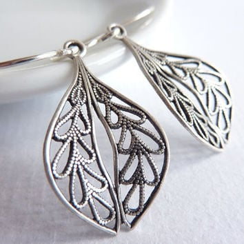 Filigree Leaf Earrings Sterling Silver Drop by KittyBallistic