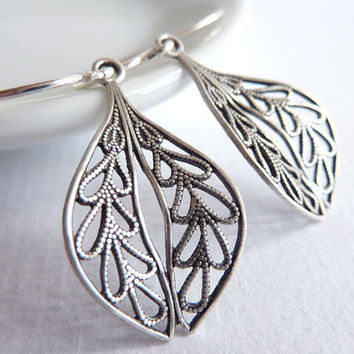 Filigree Leaf Earrings, Sterling Silver, Drop Earrings