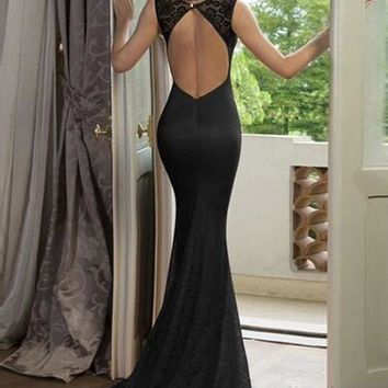 Black Backless Bow Lace Double-deck Maxi Dress