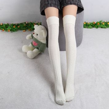 College Wind Women Ladies Fashion Thigh High Socks Sexy Warm Knit Crochet Over Knee Socks Solid Long Stockings For Girls 8 Color