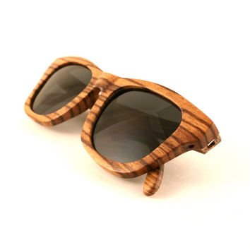 Zebra Wood Sunglasses Polarized Lenses - Flourish Black | Handmade Wayfarer Wood Sunglasses from Thrive Shades