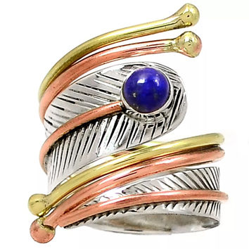 Lapis Three Tone Sterling Silver Leaf Adjustable Wrap Ring