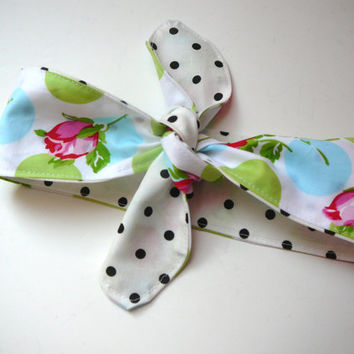 Fabric Hair Tie - Rockabilly Headband - Dolly Bow - Rose Headband - Fabric Headscarf - Fabric Retro Headband - Fabric Headband