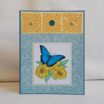 Butterfly Card, Paper Handmade Greeting Card, Spring Card, Summer Card, Blank Card, Card Shop, For Her, Flowers, Blue, Yellow, Nature Card