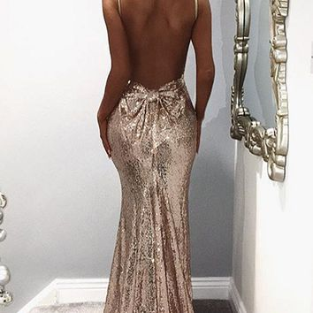 24K Magic Gold Sequin Spaghetti Strap Sleeveless V Neck Bow Back Mermaid Maxi Dress