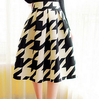 Multi Print High Waisted Pleated Midi Skirt