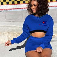 Champion Summer New Fashion Embroidery Letter Print Sports Leisure Long Sleeve Top And Short Skirt Two Piece Suit Blue