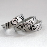 Set of THREE Geometric Tribal Bands - Hand Stamped and Hammered Aluminum Stacking Ring Set