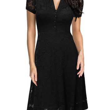 Miusol Women's 1950S Style V Neck Cap Sleeve Flare Lace Cocktail Party Dress