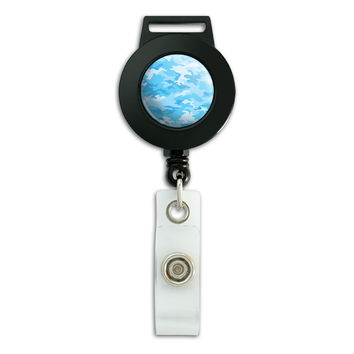 Camouflage Print Light Blue Retractable Badge Card ID Holder