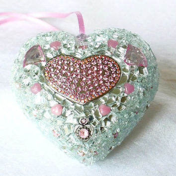 Valentines Day Gift, Mosaic Heart, Home Decoration, Silver Heart, Pink Heart, Heart Art for Lovers, Rhinestones