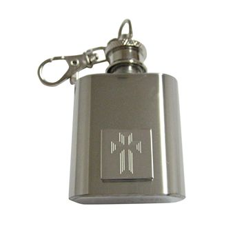 Silver Toned Etched Triple Cross 1 Oz. Stainless Steel Key Chain Flask