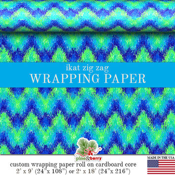 Peacock Ikat Chevron Custom Wrapping Paper  | Unique Zig Zag IKat Gift Wrap Matte Finish 9 ft. or 18 ft. Rolls For Any Occasion.