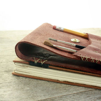 Leather Artist Journal  Refillable Art Book and Pencil by odelae