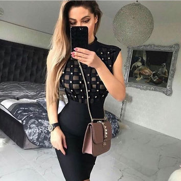 Lola- Studded Mesh Bodycon Bandage Mini Dress