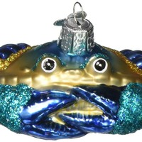 Blue Crab Blown Glass Christmas Ornament