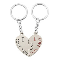 1pcs Fashion I Love You Design Pair Key ring Keychain Couple Key Chain with Heart Pendant Silver = 1930204292