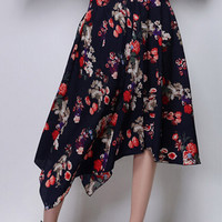 Navy Floral High Waist Midi Skirt