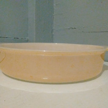 Casserole, Dish, Fire King, #45, 8 IN, Round, Peach, Iridescent, Glass, Baking Dish, Vintage, Kitchen