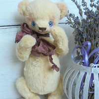 Free shipping worldwide Teddy bear Vanilla OOAK Shabby chic Gift for her Little bear Interior Plush bear Toy Artist teddy Stuffed Animal