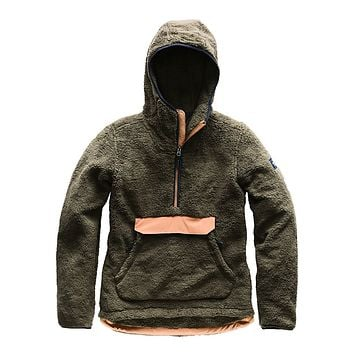 Women's Campshire Sherpa Fleece Pullover Hoodie in New Taupe Green & Cargo Khaki by The North Face