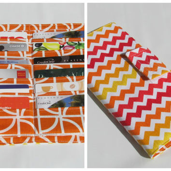 Credit Card Organizer Wallet, Gift Card Holder,Loyalty Card Organizer, Women's Wallet Bifold 38 Credit Card Organizer Zig Zag in Sunset