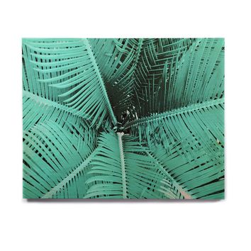 "Suzanne Carter ""Palm-Aqua"" Teal Black Birchwood Wall Art"