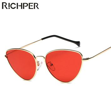 RICHPER 2018 Fashion Brand Designer Cat Eye Sunglasses Women Luxury Vintage Retro Metal Frame Female  Sun Glasses oculos
