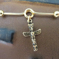 Gold Tone Totem Pole Industrial Barbell Piercing Charm Scaffold Tribal Native American Ear Jewelry