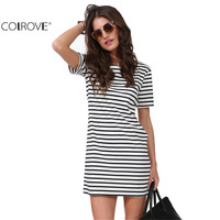 Summer New Designer Hot Sale Women Elegant Party Fashion Black White Striped Short Sleeve Straight Short Casual Dress