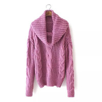 Turtleneck Long-Sleeve Knitted Sweater