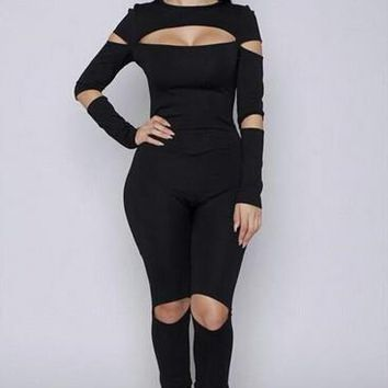 Skinny Cut Out Hollow Long Sleeve Back Zipper Playsuit Sexy Club Jumpsuits Out Fit Bodycon Jumpsuit & Romper One Piece Jumpsuit