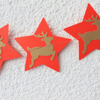 Deer Garland, Gold and Red, Christmas Decor, Christmas Garland, Christmas Shower Decor, Photo Prop, Romantic Garland