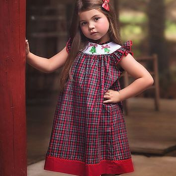 Trish Scully Child Red Plaid Smocked Angel-Sleeve Dress - Infant, Toddler & Girls
