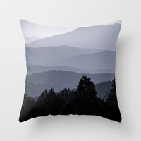 Misty morning at the Smoky's Throw Pillow by Wood-n-Images