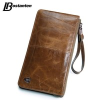 New Oil Wax Leather Men Wallets Fashion Male Clutch Purse Long Coin Purse Genuine Leather Card Holder Wallet