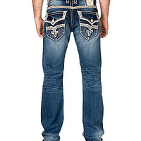 Rock Revival Stanley Fleur-de-Lis-Pocketed Straight-Leg Denim Jeans