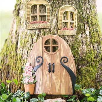 Miniature Fairy Garden Windows And Double Door Tree Accents