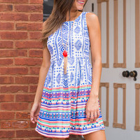 So Much Love So Little Time Dress, Blue