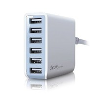 Photive 60 Watt 6 Port USB Desktop Rapid Charger. Intelligent USB Charger with Auto Detect Technology (White) Updated Version of Photive 50 Watt 6 Port USB Charger