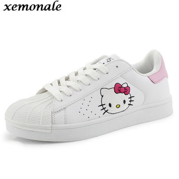 Autumn Women Teens Fashion Casual Doraemon Hello Kitty Kitten Cartoon Korean Lacing Female Students Flats Boards Shoes ZJ123
