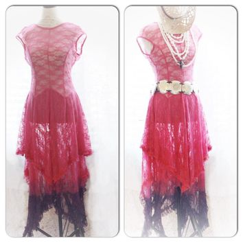 Ombre lace Maxi Dress, hot pink boho chic lace dress, True Rebel Clothing