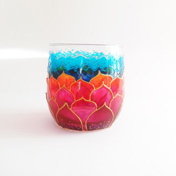 Votive Candle Holder Pink Lotus Glass Storage Cup Tea Light Candle Holder  Votive Cups Empty Candle Container Glass Votives