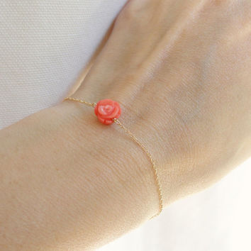 Pink rose bracelet, natural carved coral rose bracelet, gold fill bracelet, minimal jewelry, skinny gold bracelet