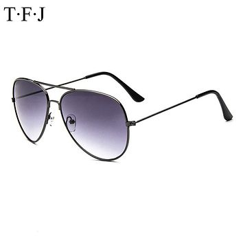TFJ 2016 New Fashion Vintage Eyeglasses Women's Men's Classic Aviator Silver Mirrored Lens Brown Gold Black Sunglasses UV 400