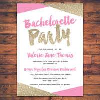 DIGITAL PRINT Bachelorette Party Invitation Card Bride To Be Invite Hen Party Stagette Party Faux Gold Glitter Sparkle Fun Invite Cards