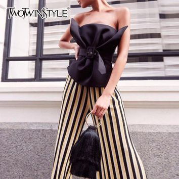 TWOTWINSTYLE Off Shoulder Shirt Female Ruffles Slash Neck Sashes High Waist Irregular Blouse Summer Sexy Fashion Tops Clothing
