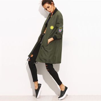 Army Green Leather Patch Jacket