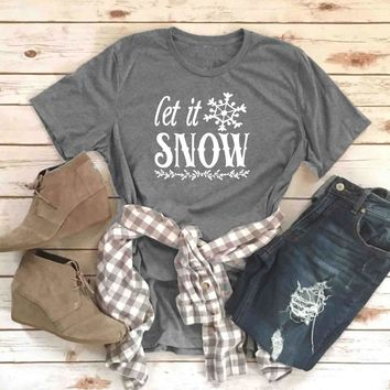Graphic Unisex Casual Funny Tee Let it snow T-Shirt Christmas snowflake Slogan Tops Stylish Grunge Vintage t shirt Drop Ship