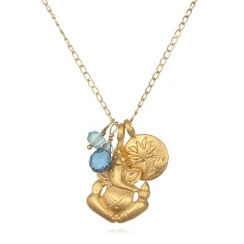 Blue Topaz Onwards Ganesha Necklace